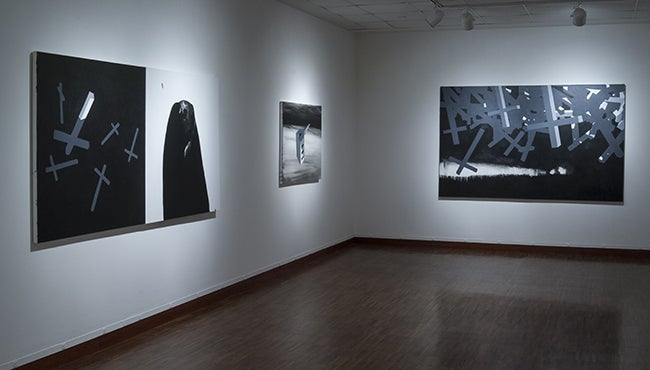 Kortlander, John - installation view of Finding and Proving, Stratosphere, and Stampede (l-r).jpg