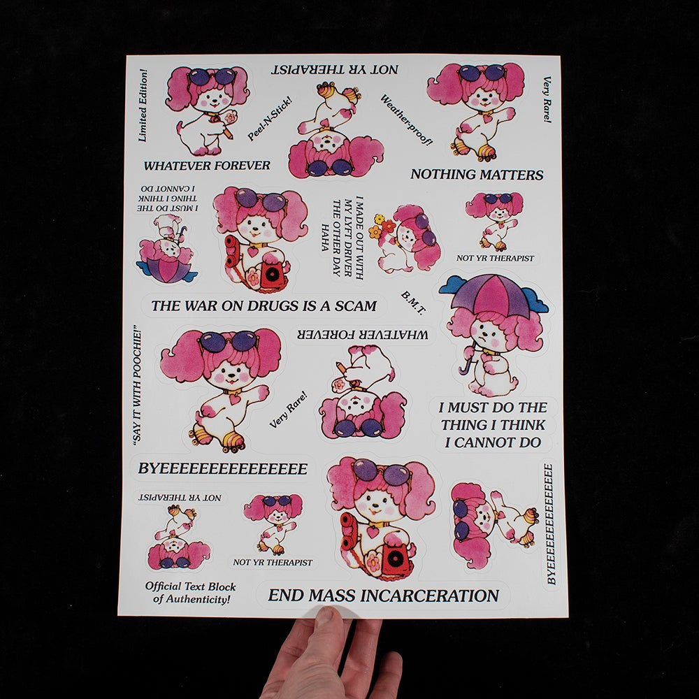 Trammell, Breanne - Say It with Poochie, 2018, kiss-cut archival sticker sheet, 11x14 inches, open edition.jpg